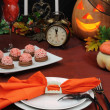 Fragment table setting for Halloween — Stock Photo