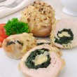 Stock Photo: Chicken roulade stuffed with spinach and cheese