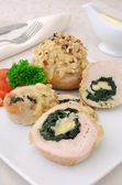Chicken roulade stuffed with spinach and cheese — Stock Photo