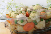 Roasted vegetables with chicken and dill — Stock Photo