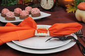 The idea of a table setting for Halloween — Stok fotoğraf