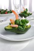Appetizer of avocado and shrimp — Stock Photo