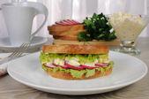 Egg sandwich with radish — Stock Photo