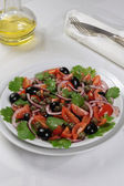 Tomato salad with olives, capers and cilantro — Stock Photo