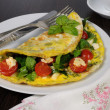 Omelet with spinach, basil, cherry tomatoes and cheese Adyg — Stock Photo #48206873