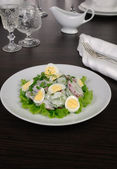 Radish salad with cucumber and eggs for milk sauce — Stock Photo