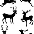 Six deer silhouettes — Stock Vector