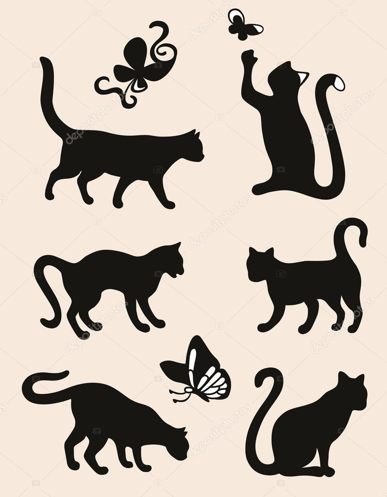Six cat silhouettes isolated on coffee latte background  — Imagen vectorial #13608046