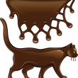 Chocolate decor and cat — Stock Vector