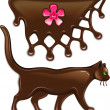 Chocolate marmalade flower decor and cat — Vector de stock