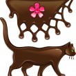 Chocolate marmalade flower decor and cat — Stock vektor