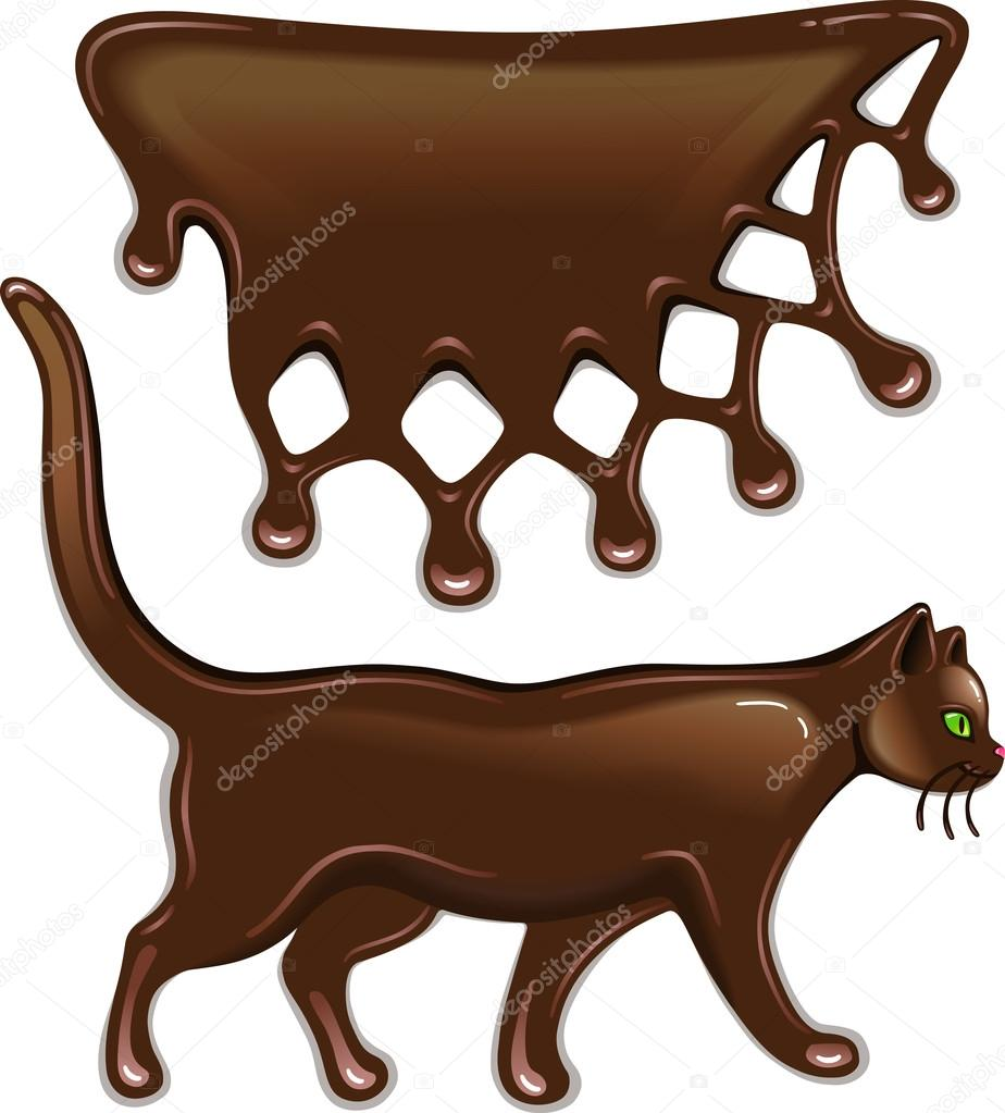 Chocolate decor and cat isolated on white background  — Stock Vector #13846348