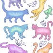 Eight cat silhouettes and fly flowers - Image vectorielle
