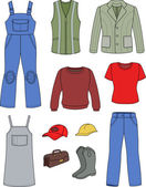 Worker, plumber man, woman fashion set — Stockvector