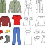 Worker, plumber man, woman fashion set — Stock Vector #17460995