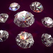 Set of eight diamonds on vinous background — Stock Photo