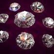 Set of eight diamonds on vinous background - Stock Photo