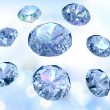 Diamonds on light blue background - Stock Photo