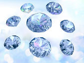 Diamonds on light blue background — Stock Photo