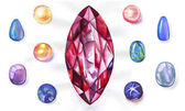 Watercolor gems set — Stock Photo