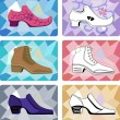 Six stylish mshoes isolated on faceted background — Stock Vector #27548497