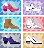 Six stylish man shoes isolated on faceted background — Stock Vector