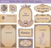 Modello di testo identità aziendale per un salone di bellezza — Vettoriale Stock