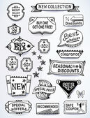 Sales messages set of promotional english text labels — Stockvector