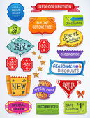 Sales messages set of promotional english text labels — Vettoriale Stock