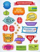 Set di messaggi di vendita di etichette promozionali testo inglese — Vettoriale Stock