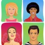 Man woman profile avatar vector set — Stock Vector