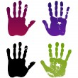 Old man four hand prints — Stock Vector