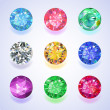 Round shape top view colored gems — Stock Vector #46805925