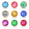 Постер, плакат: Round shape top view bezel colored gems