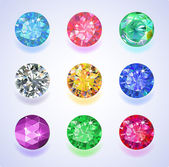 Round shape top view colored gems — Stock Vector