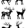 Six deer standing vector silhouettes — Stock Vector