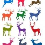 Twelve colored deer vector silhouettes — Stock Vector