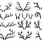 Deer antlers black silhouettes vector — Stock Vector