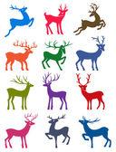 Doze coloridas silhuetas veado vetor — Vetorial Stock
