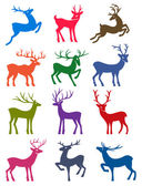 Twelve colored deer vector silhouettes — Vettoriale Stock