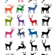 Colored & black outlined deer vector silhouettes — Stock Vector #50242123