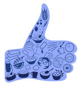 Food like social networks thumb up hand sign button — Vector de stock