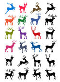 Colored & black outlined deer vector silhouettes — Stock Vector
