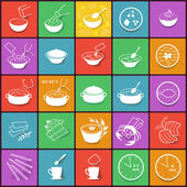 Flat fast food packaging cooking process icons set — Vector de stock
