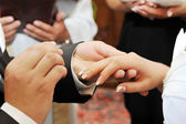 Groom and bride hands — Stock Photo