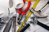 Drawings and tools — Stock Photo