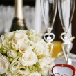 Candles and wedding  bouquet - Stock Photo