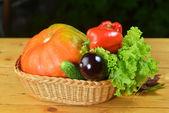 Vegetables in wicker — Stock Photo
