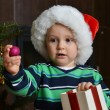 Boy in santa cap — Stock Photo