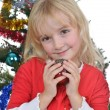 Girl near Christmas fir-tree — Stock Photo #16020857